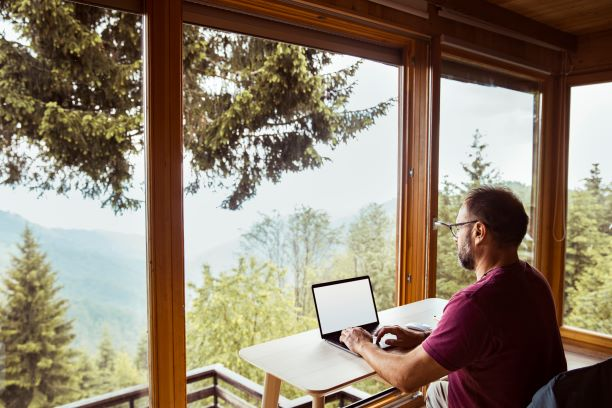 mountain cabin remote worker