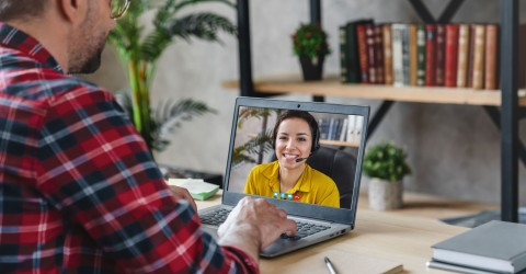 virtual recruiter and at-home job candidate video chatting